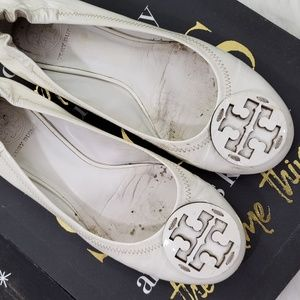 Tory Burch White Patent Leather Reva Flats